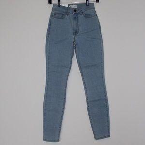 American Apparel light denim high waisted jeans